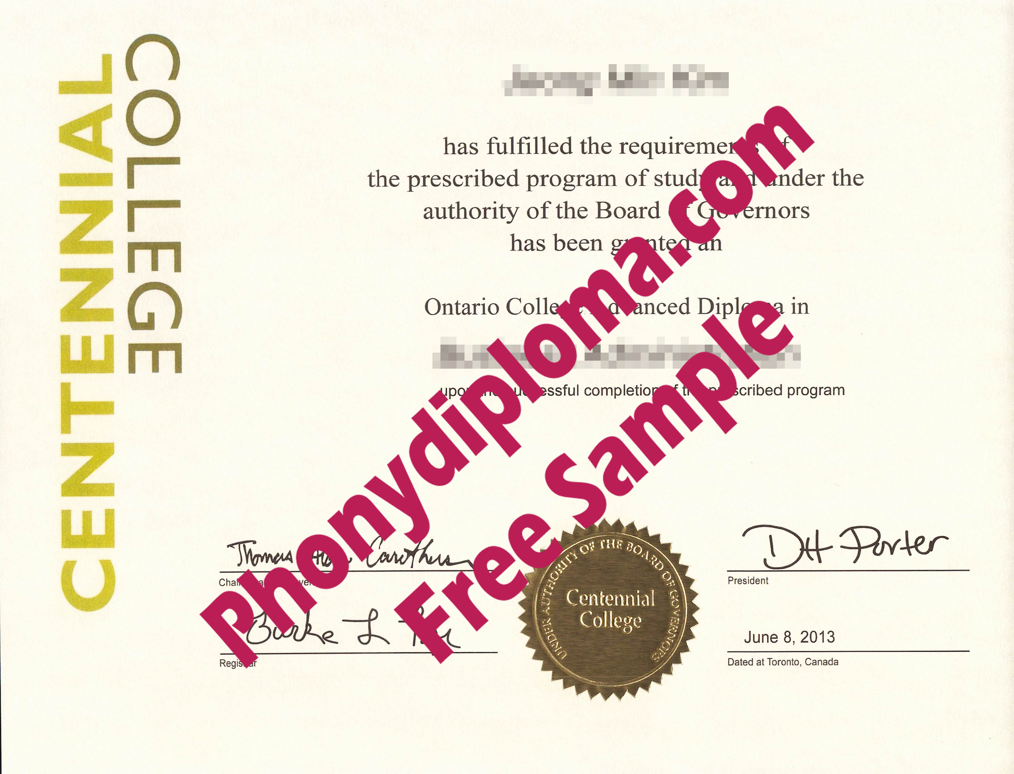 Centennial College Free Sample From Phonydiploma