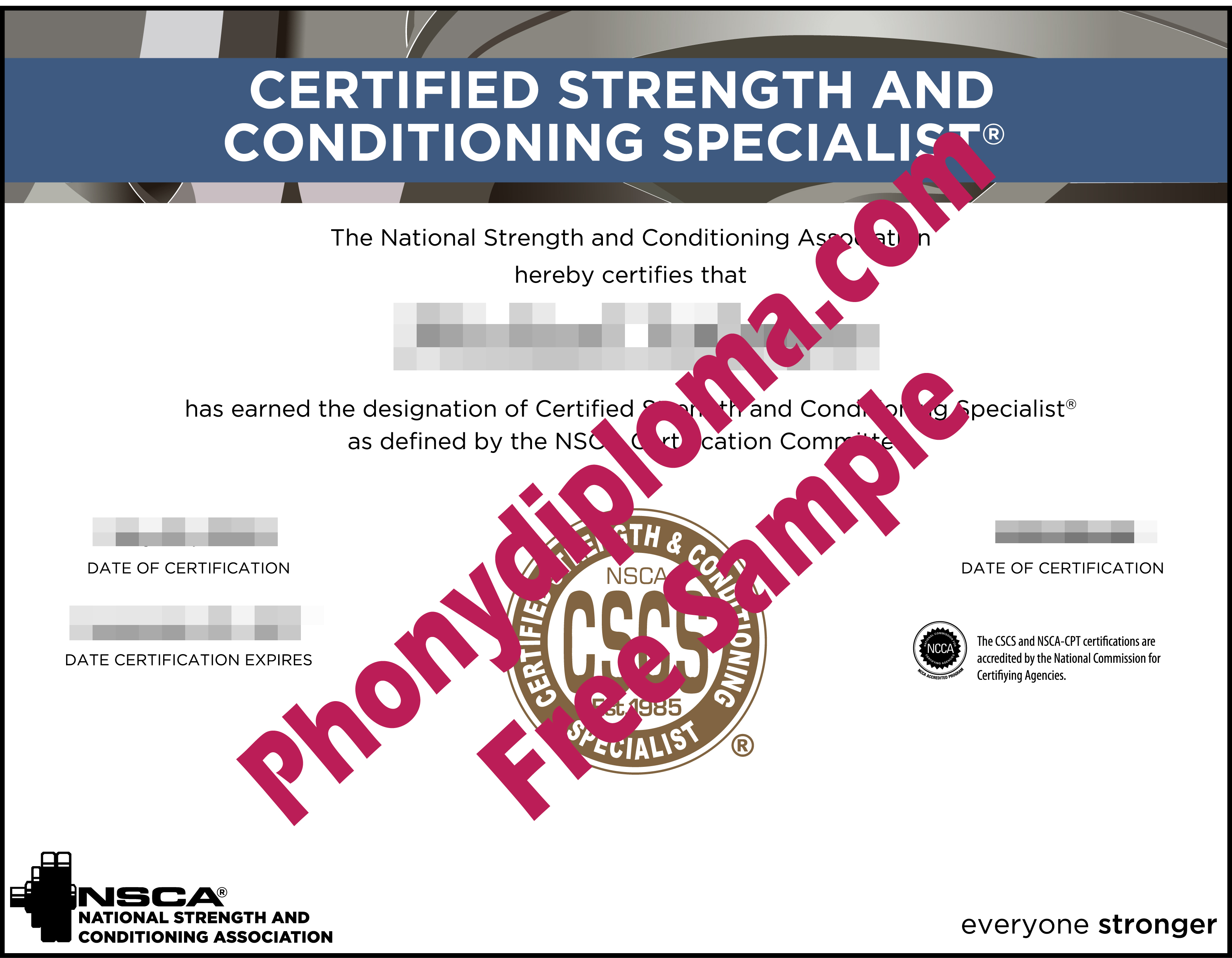 Certified Strength And Conditioning Specialist Fake Diploma Sample From Phonydiploma