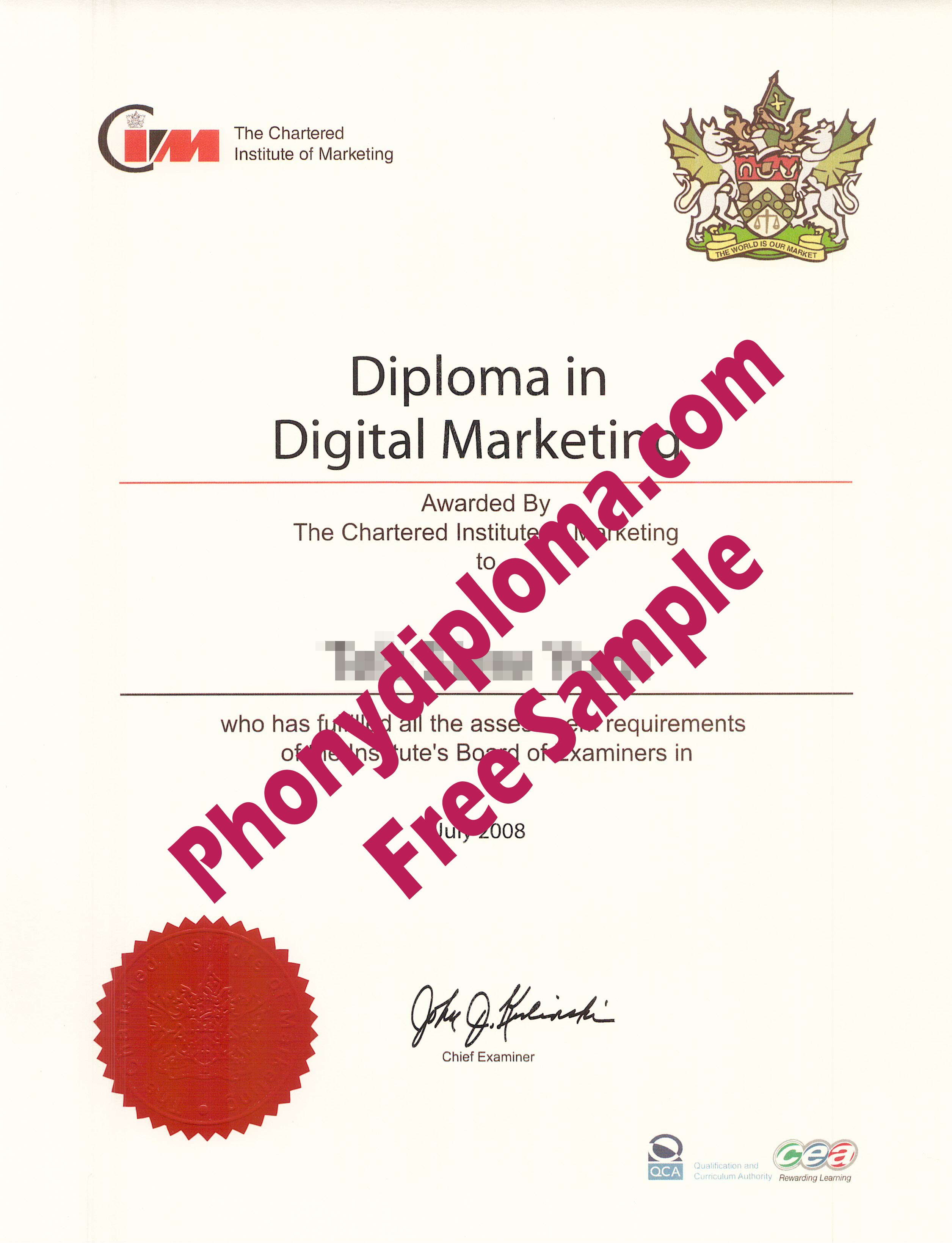 Chartered Institute Of Marketing Cim Free Sample From Phonydiploma