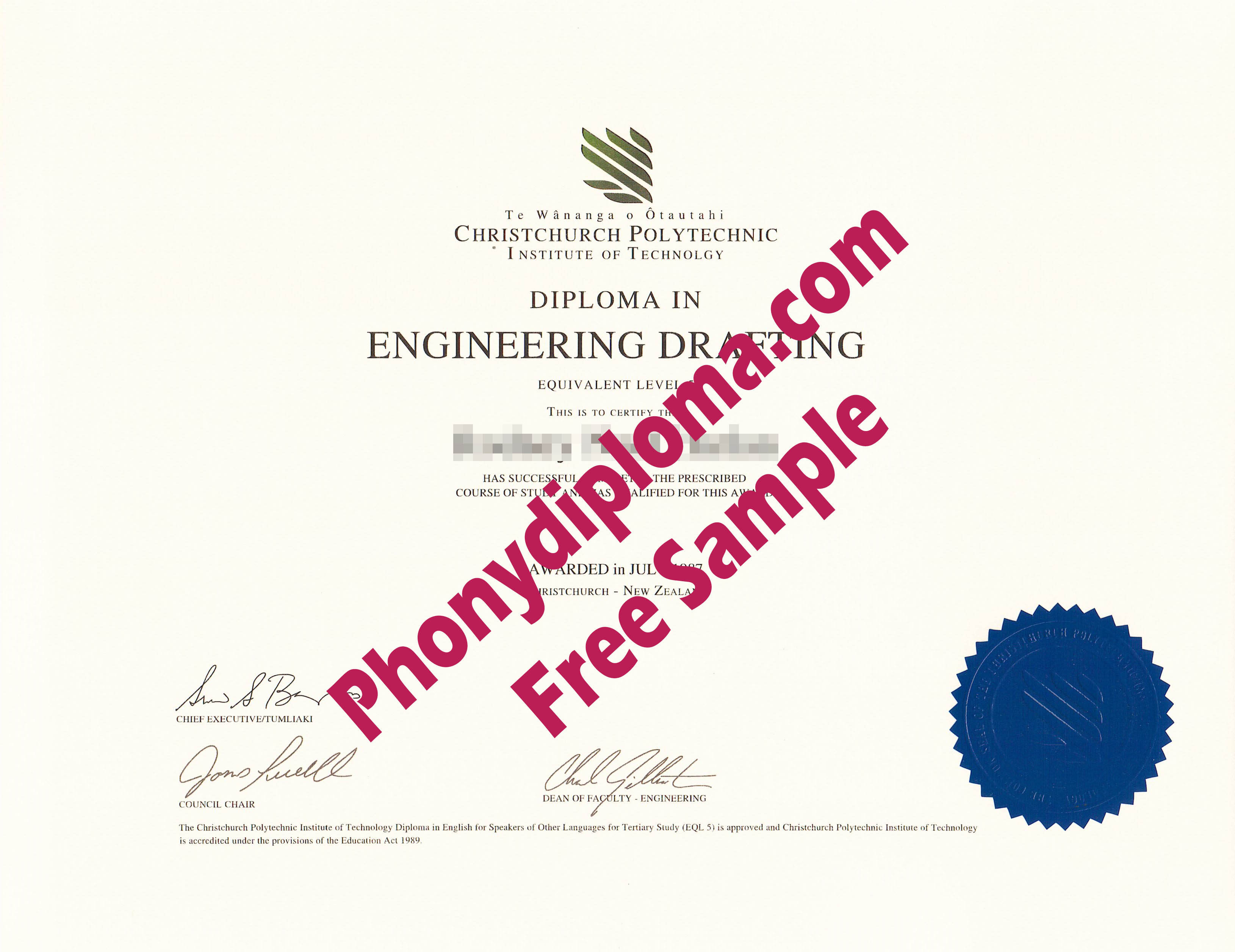 Christchurch Polytechnic Institute Of Technology New Zealand Free Sample From Phonydiploma