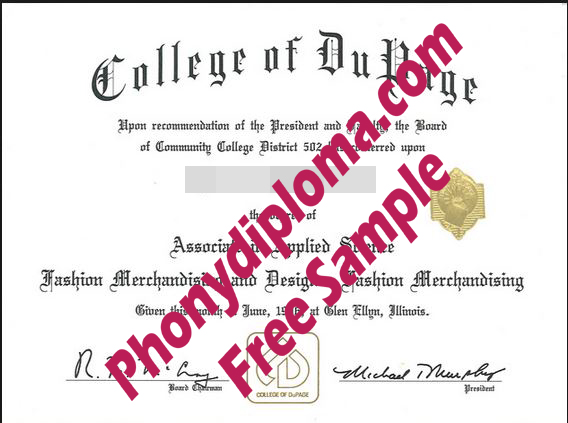 College Of Dupage Free Sample From Phonydiploma