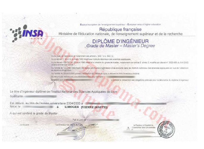 Diplome D'ingenieur France Limoges Vienne Haute French Fake Diploma Sample From Phonydiploma