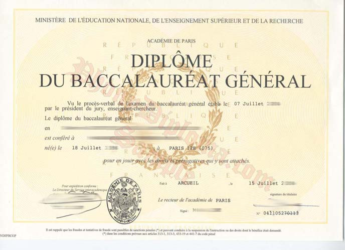 Diplome Du Baccalaureat General French Fake Diploma Sample From Phonydiploma
