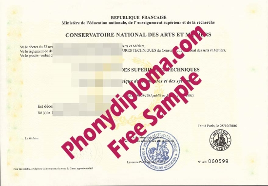 France Conservatoire National Des Arts Et Metiers France Free Sample From Phonydiploma