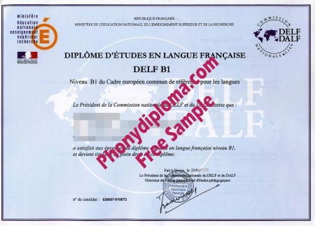 France Delf, B1, B2 Free Sample From Phonydiploma