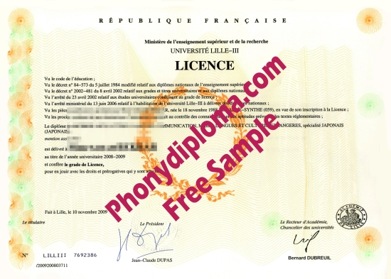 France Lille Iii Free Sample From Phonydiploma