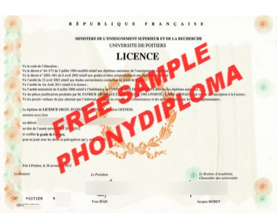 France Université De Poitiers Diploma Free Sample From Phonydiploma