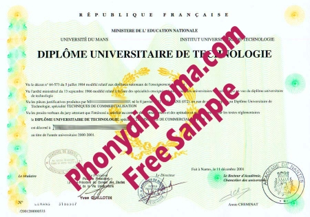 France Universite Du Mans Free Sample From Phonydiploma