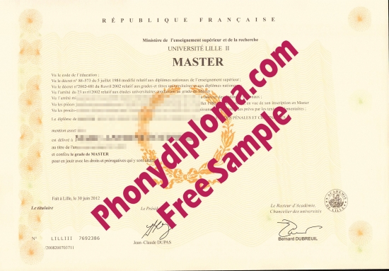 France Universite Lille Ii Free Sample From Phonydiploma
