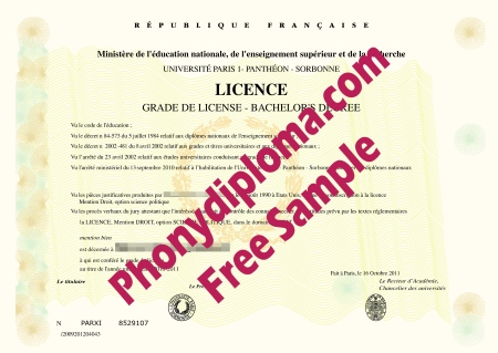France Universite Paris 1 Pantheon Sorbonne Free Sample From Phonydiploma