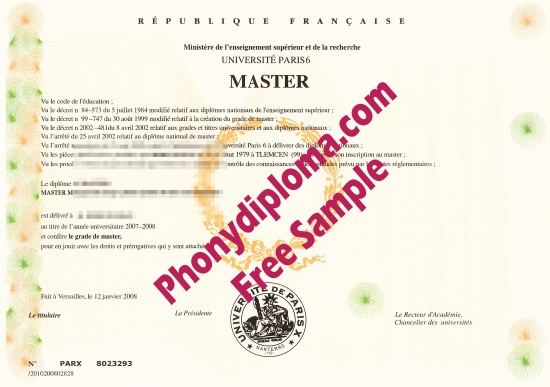France University Of Paris 6 Free Sample From Phonydiploma