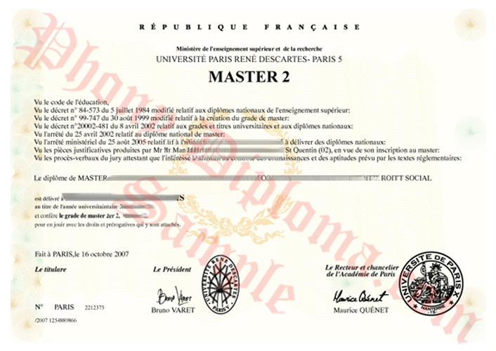 Universite Rene Descartes French Fake Diploma Sample From Phonydiploma