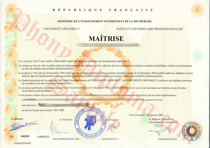 Universite Grenoble French Fake Diploma Sample From Phonydiploma