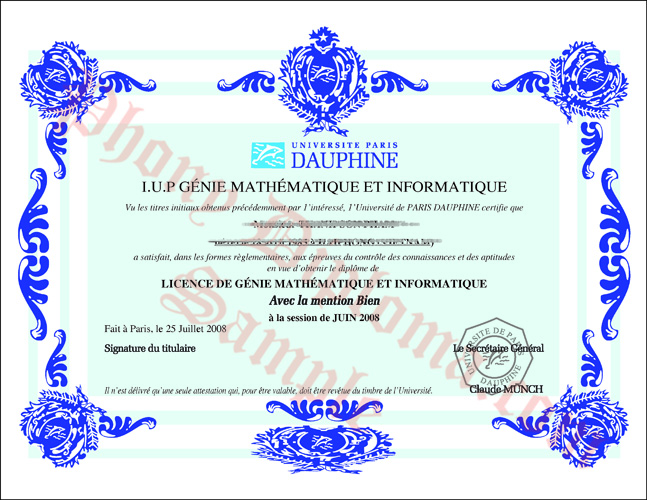 Universite Paris French Fake Diploma Sample From Phonydiploma