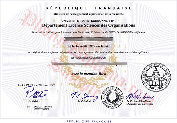 Universite Paris Sorbonne French Fake Diploma Sample From Phonydiploma