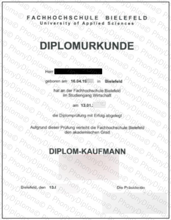 Germany Fh Bielefeld University Of Applied Sciences Free Sample From Phonydiploma
