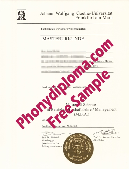 Germany Gothe University Free Sample From Phonydiploma