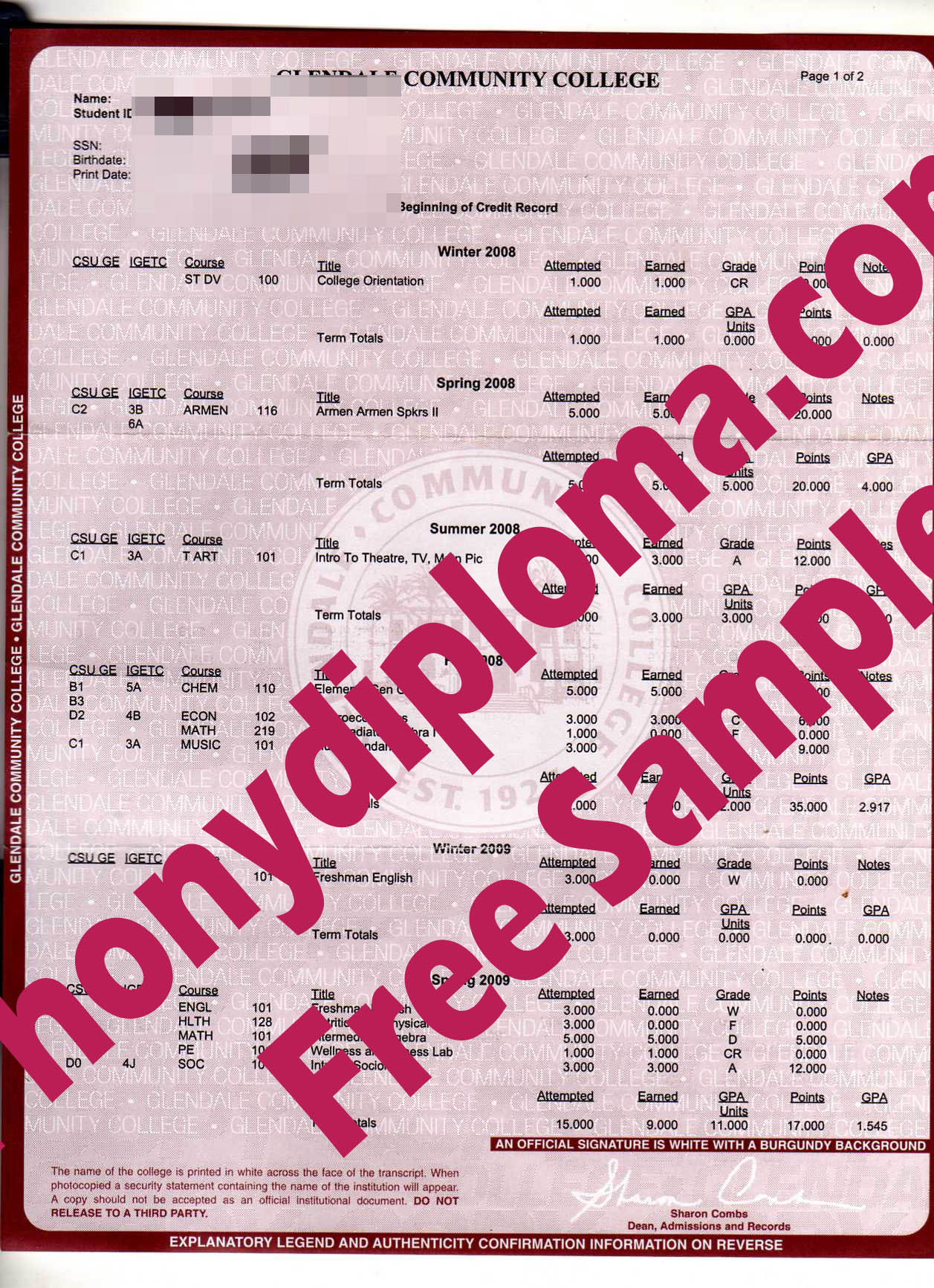 Glendale Community College Actual Match Transcript Free Sample From Phonydiploma