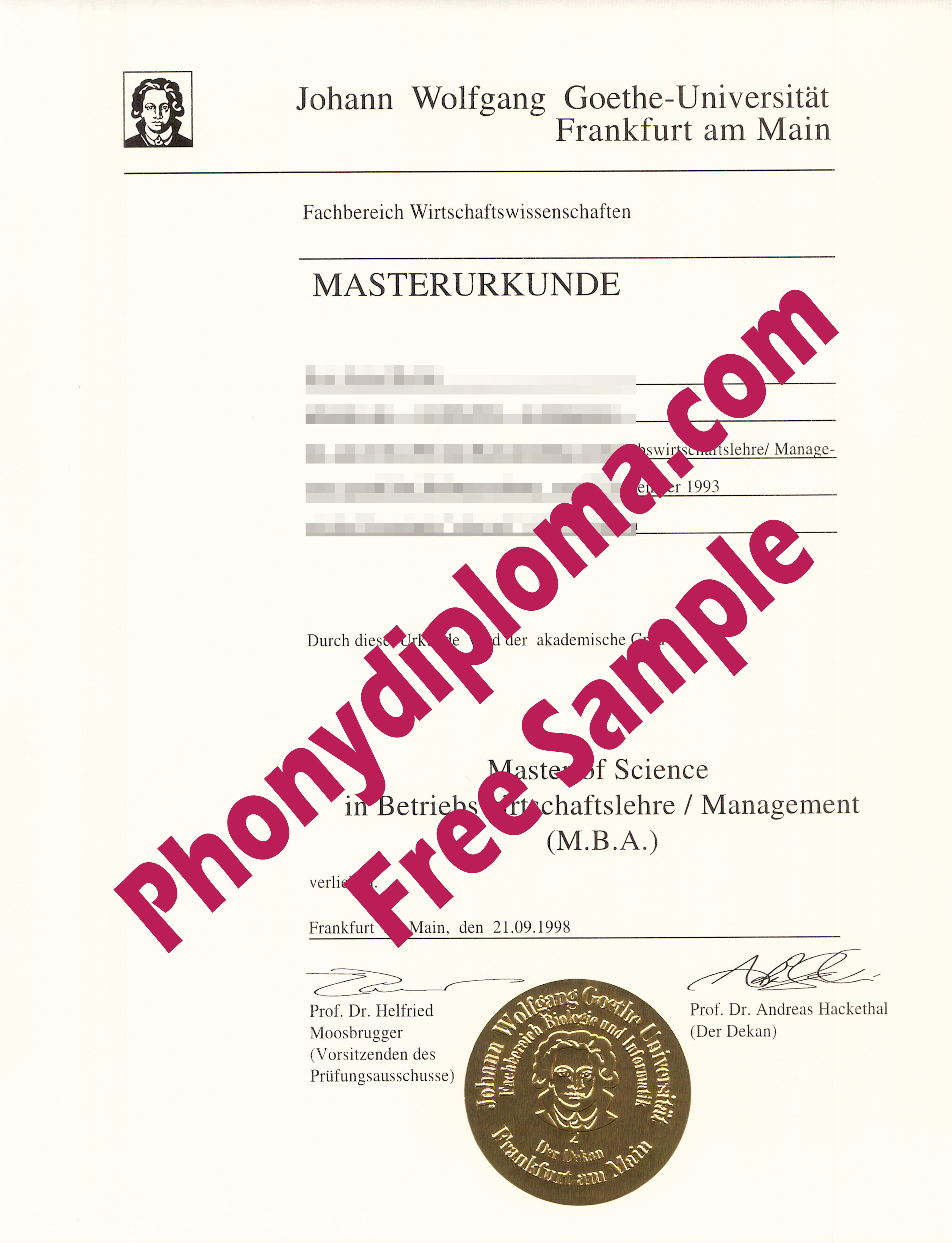 Gothe University Germany Free Sample From Phonydiploma