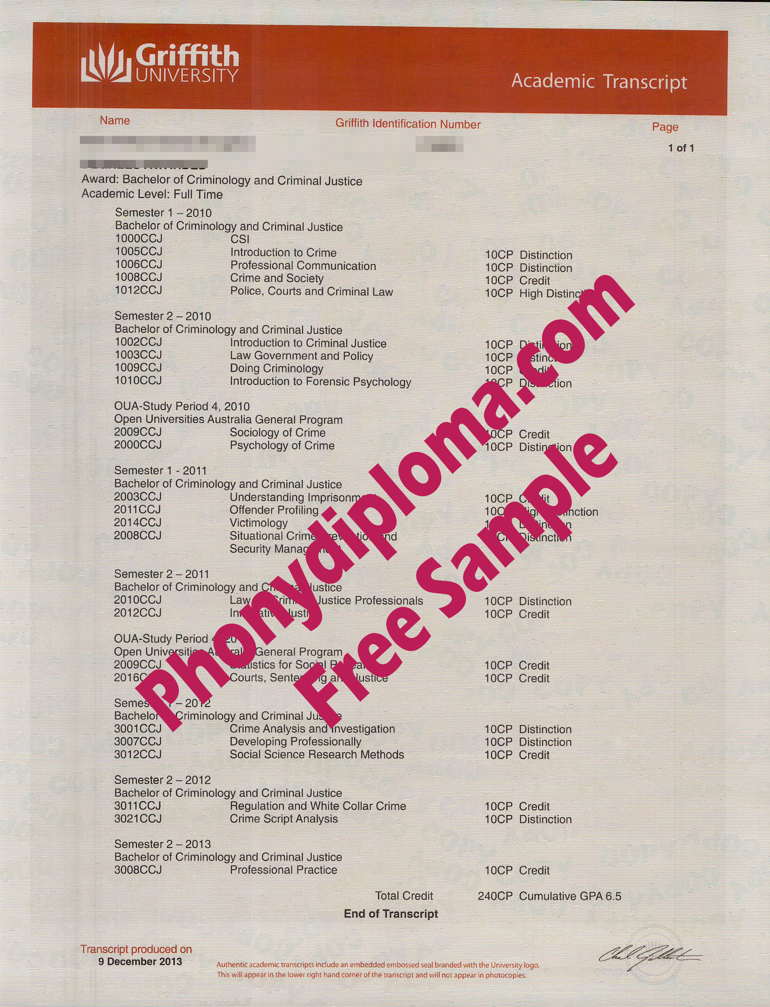 Griffith University Actual Match Transcript Free Sample From Phonydiploma