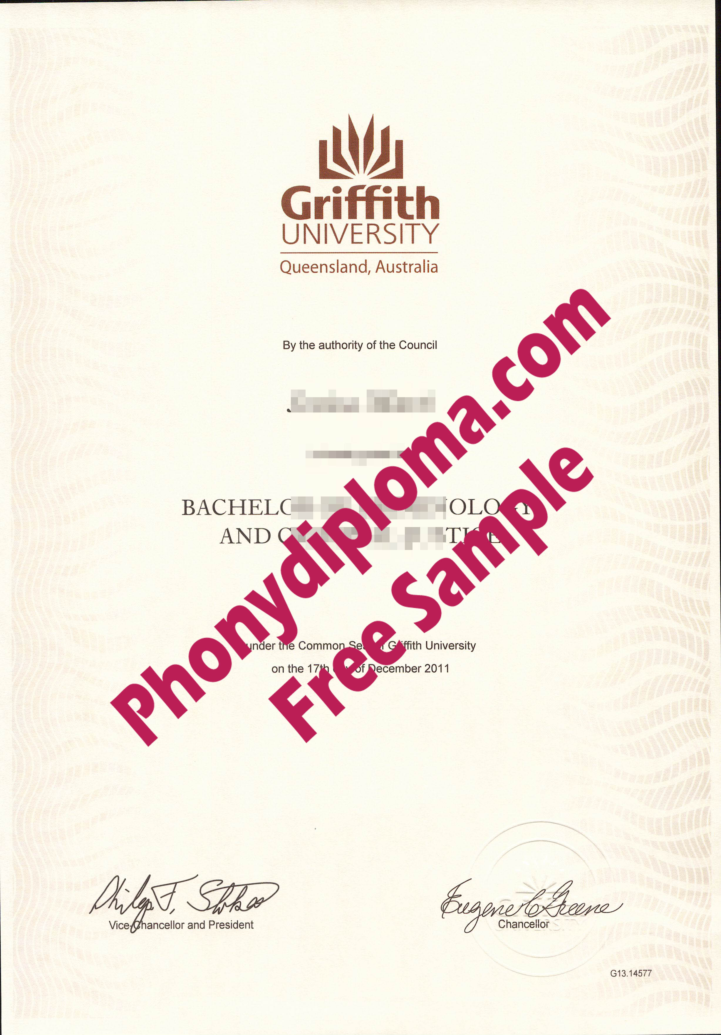 Griffith University Australia Free Sample From Phonydiploma