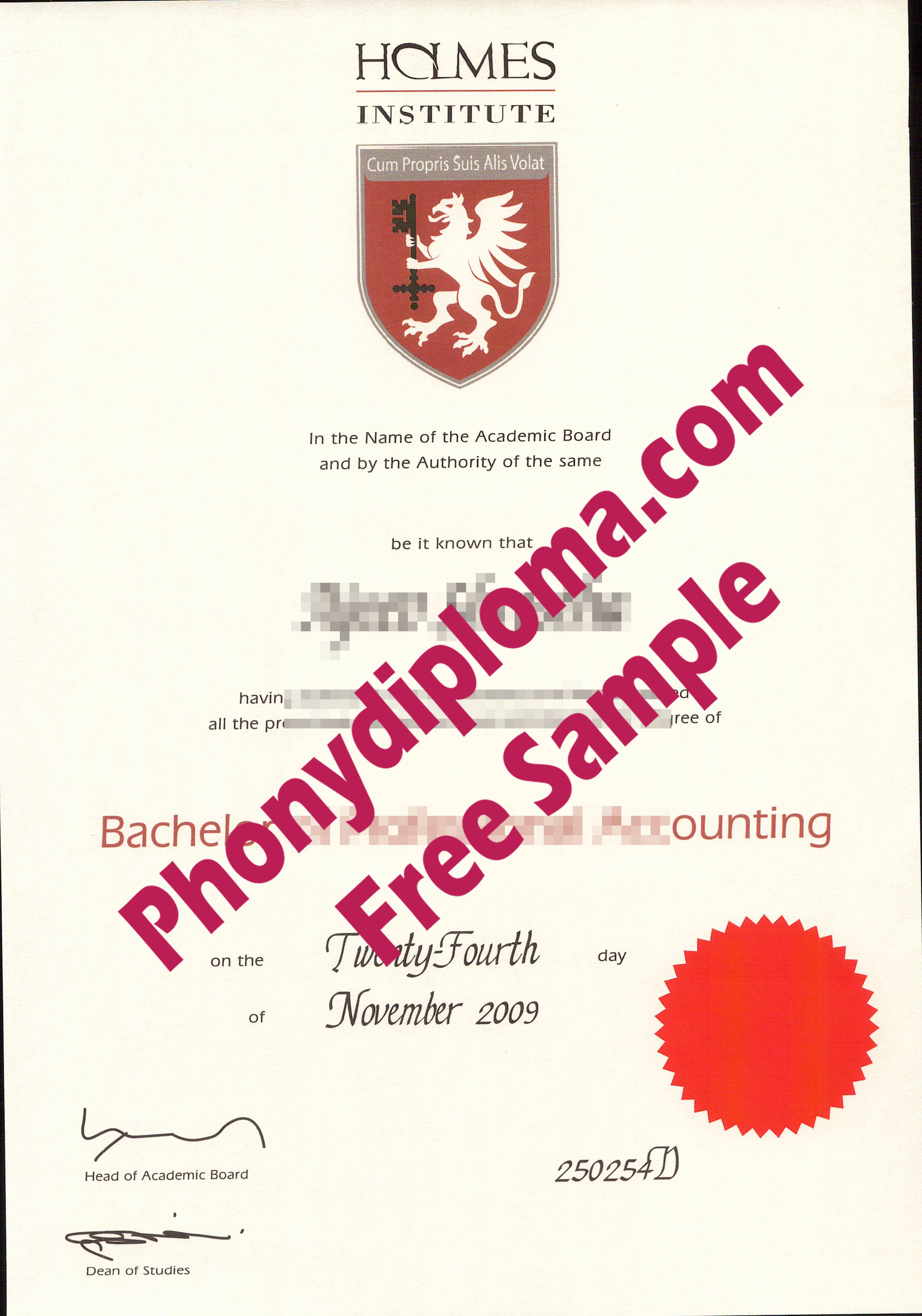 Holmes Institite Free Sample From Phonydiploma