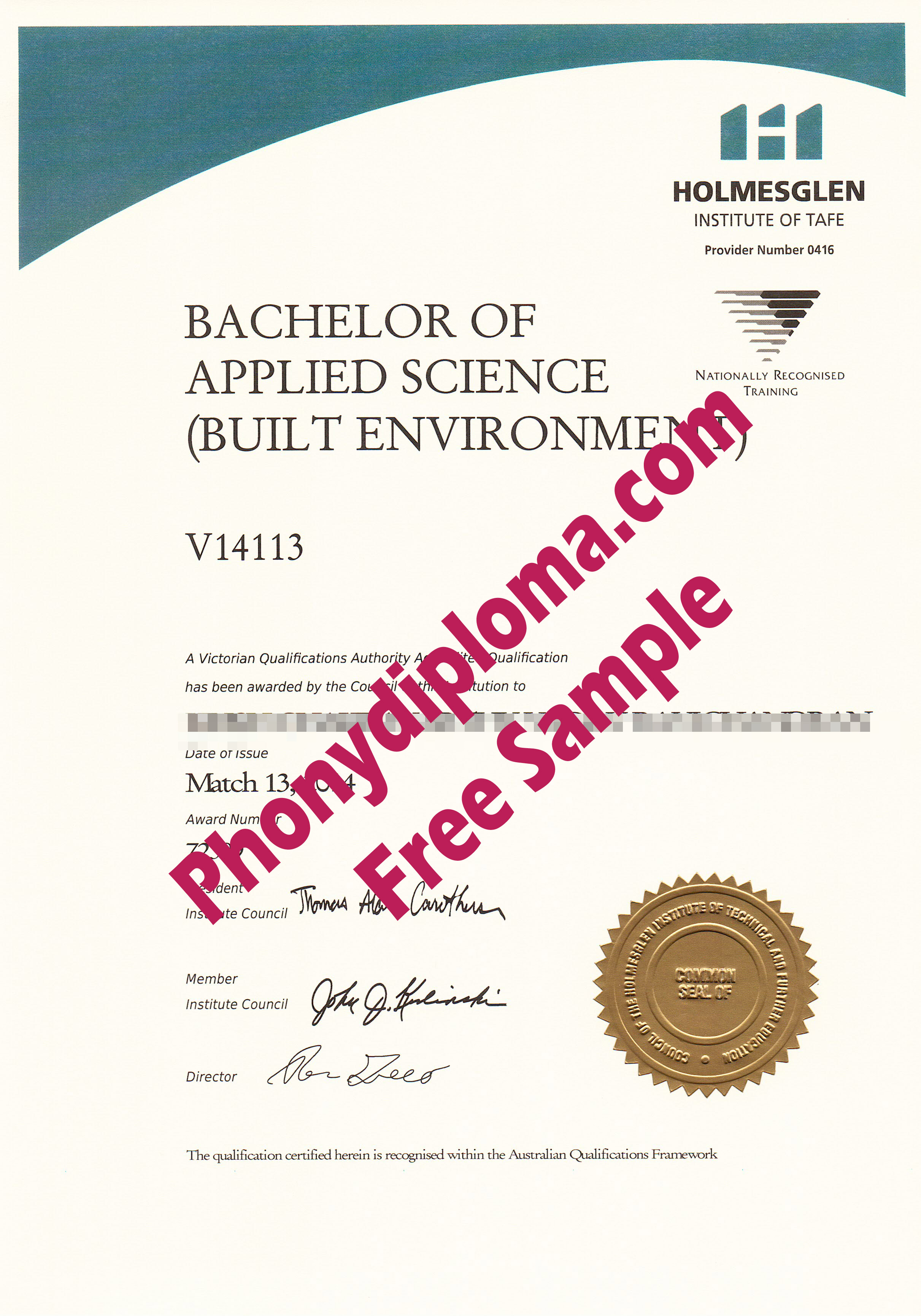 Holmesglen Institute Of Tafe Free Sample From Phonydiploma
