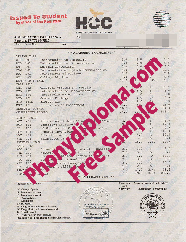 Houston Community College Actual Match Transcript Free Sample From Phonydiploma