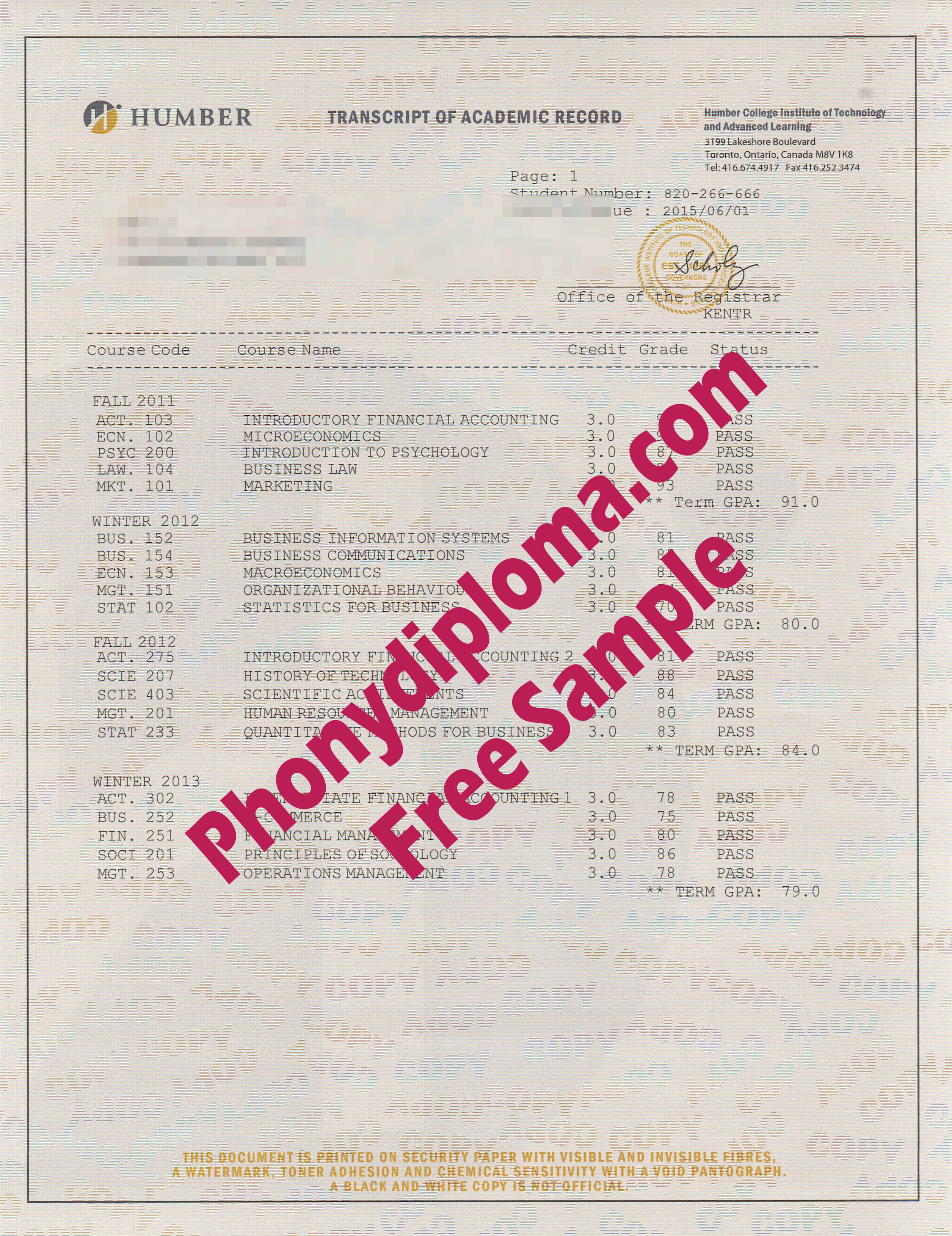 Humber Actual Match Transcripts Free Sample From Phonydiploma