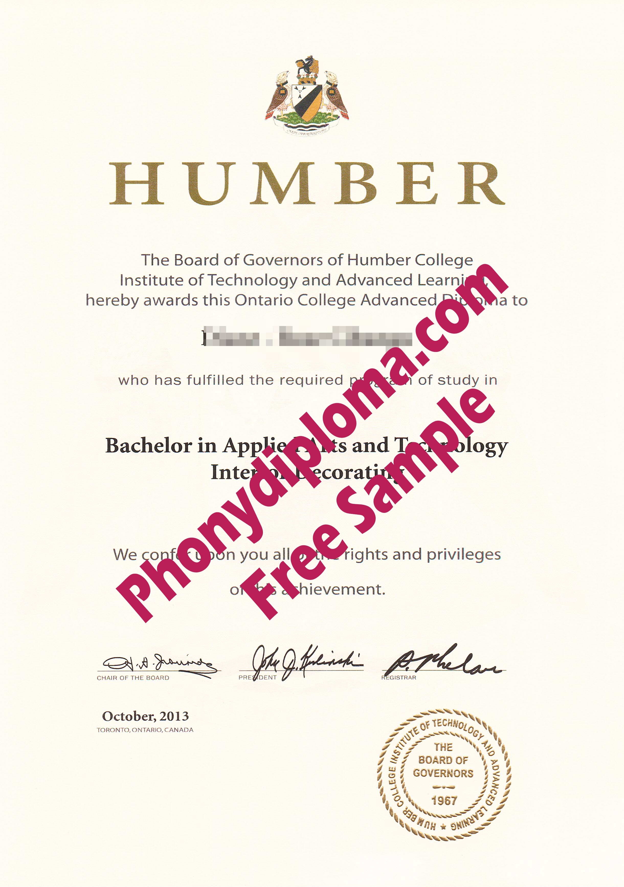 Humber College Free Sample From Phonydiploma