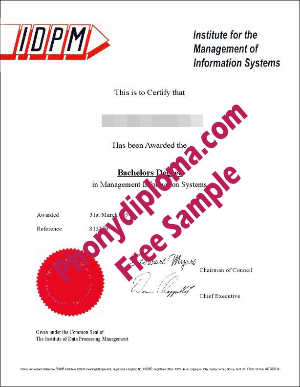 Idpm Institute For The Management Of Information Systems Free Sample From Phonydiploma
