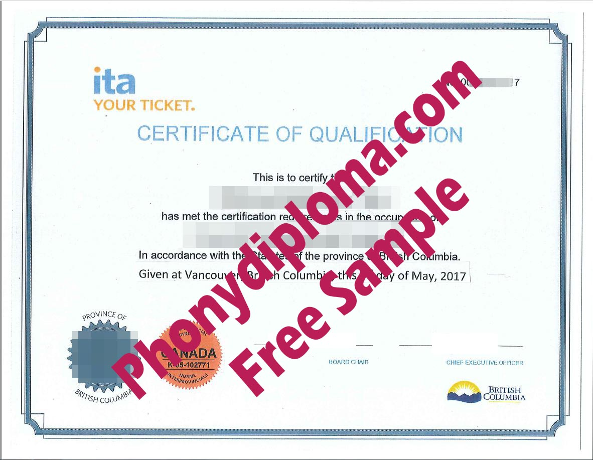 Ita Certificate Of Qualification Cook Canada Red Seal Free Sample From Phonydiploma
