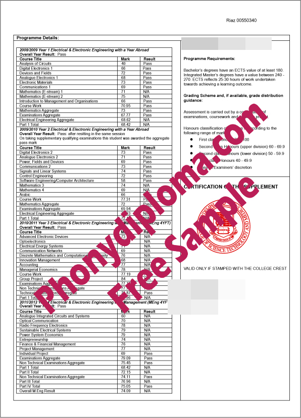 Imperial College London Actual Match Transcript Free Sample From Phonydiploma