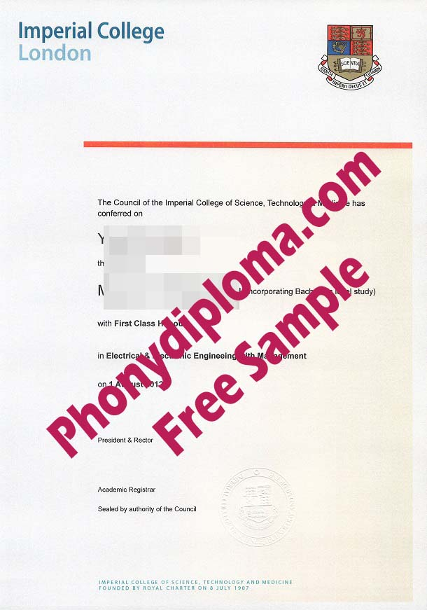 Imperial College London Free Sample From Phonydiploma