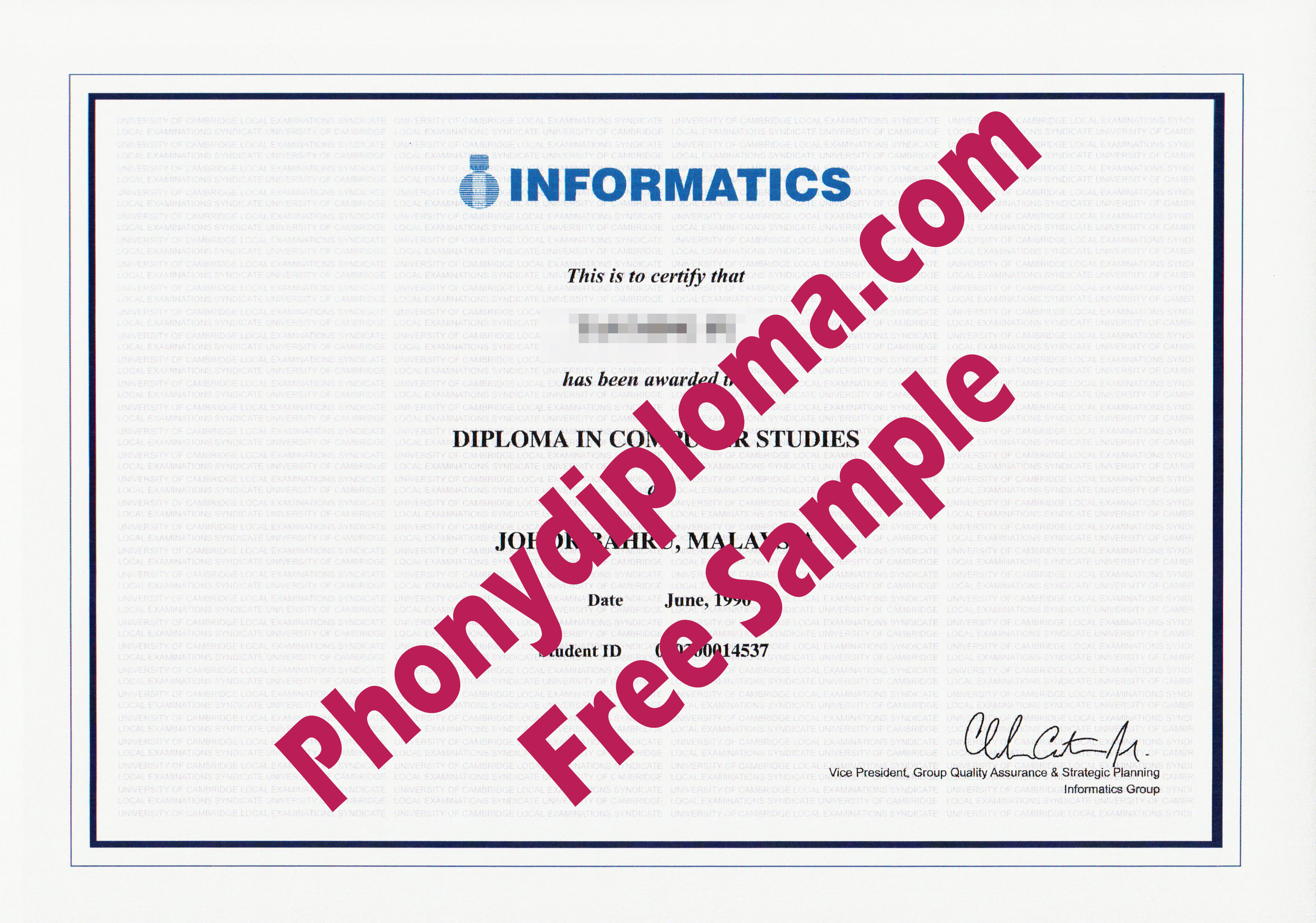 Informatics Diploma Free Sample From Phonydiploma