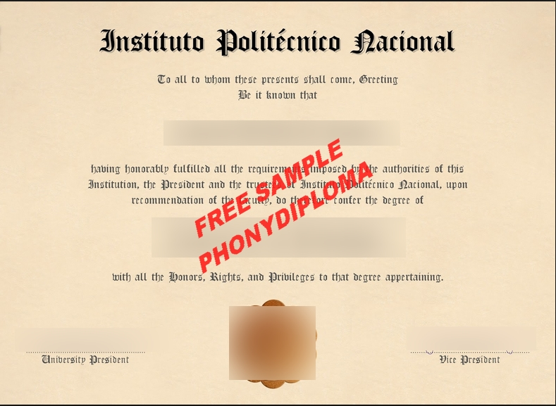 Instituto Politecnico Nacional Diploma Free Sample From Phonydiploma