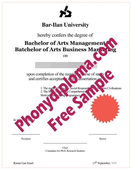 Israel Bar Ilan University Diploma Free Sample From Phonydiploma