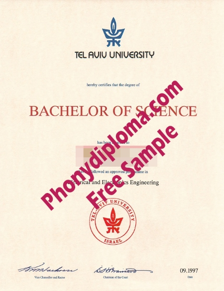 Israel Tel Aviv University Free Sample From Phonydiploma