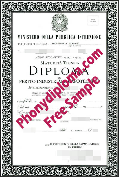 Istituto Tecnico Industriale Free Sample From Phonydiploma
