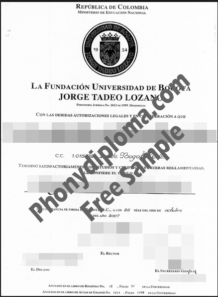 Jorge Tadeo University Free Sample From Phonydiploma