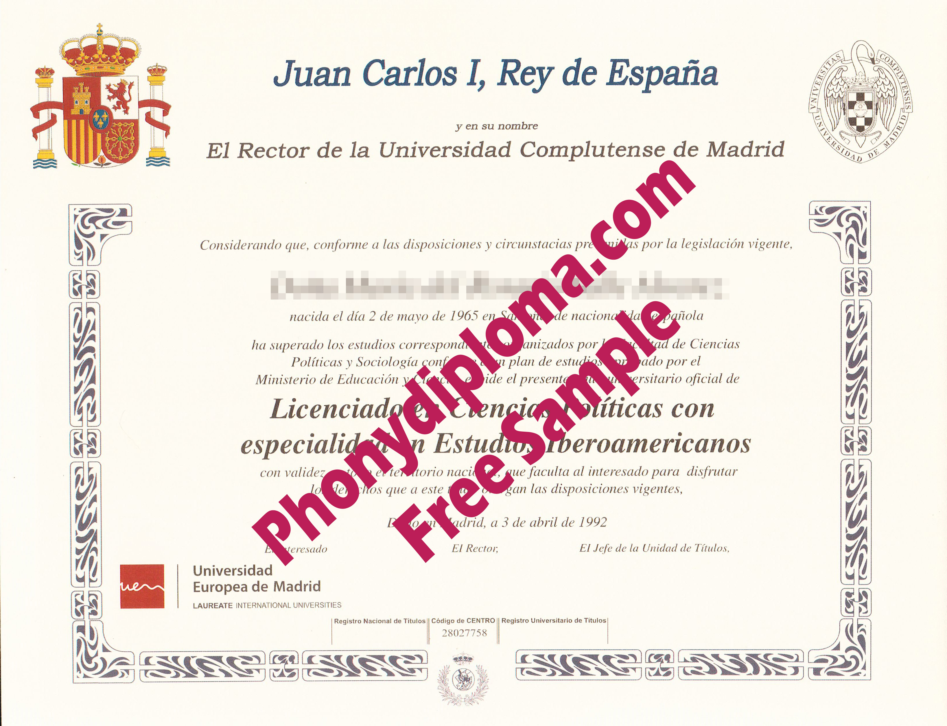 Juan Carlos Complutense De Madrid Free Sample From Phonydiploma