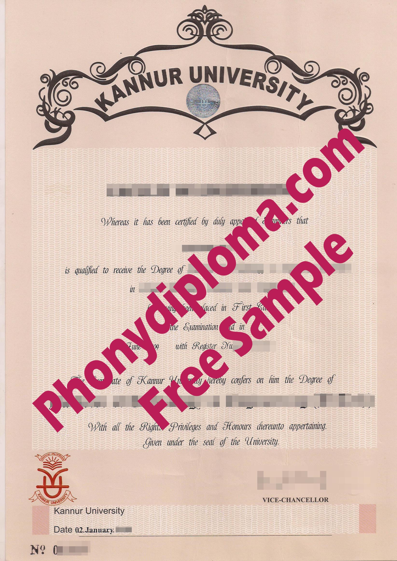 Kannur University Free Sample From Phonydiploma