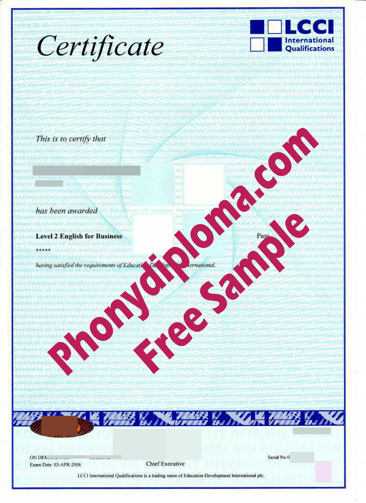 Lcci Certificate Free Sample From Phonydiploma