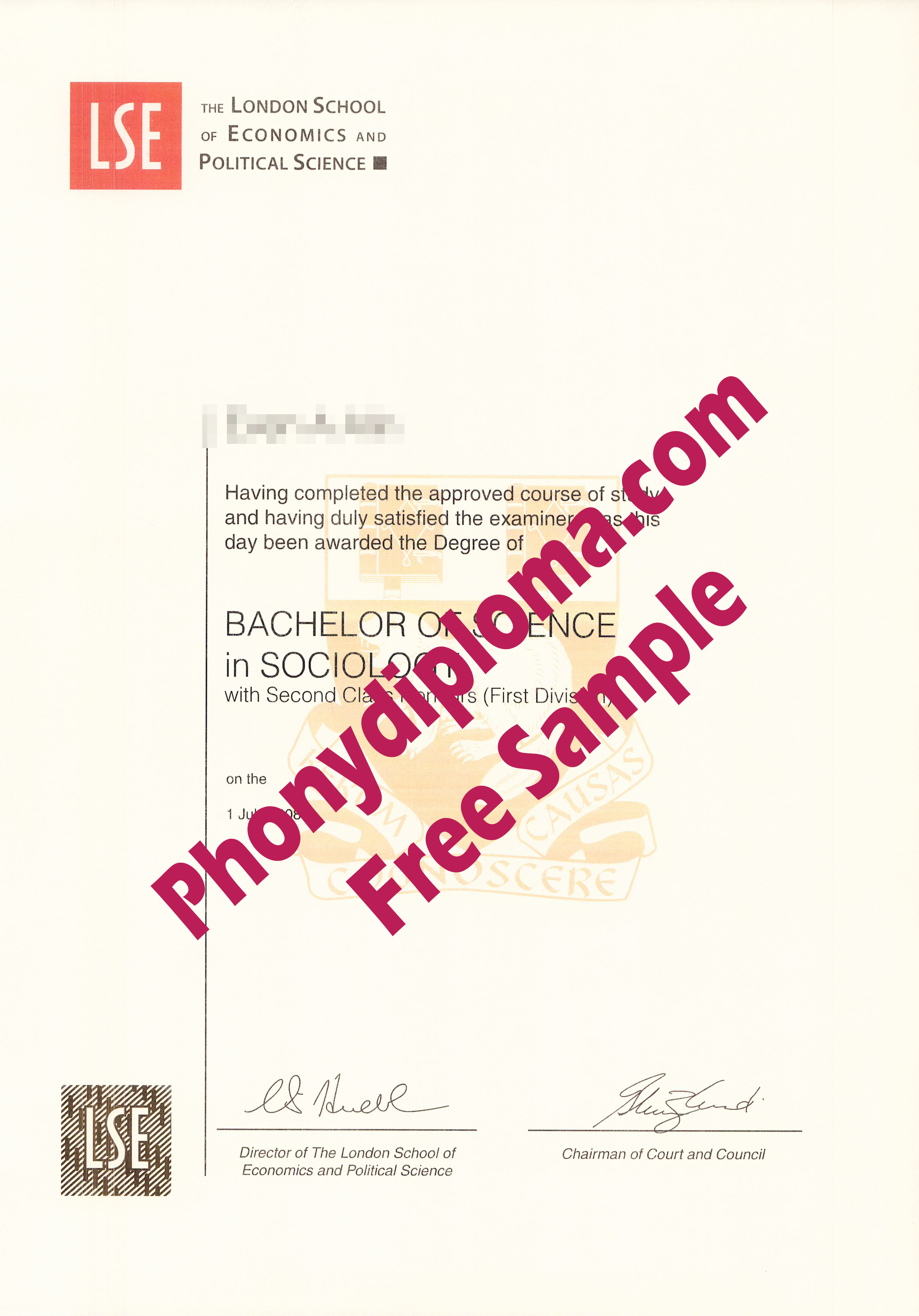 Lse London School Of Economics And Political Science Free Sample From Phonydiploma