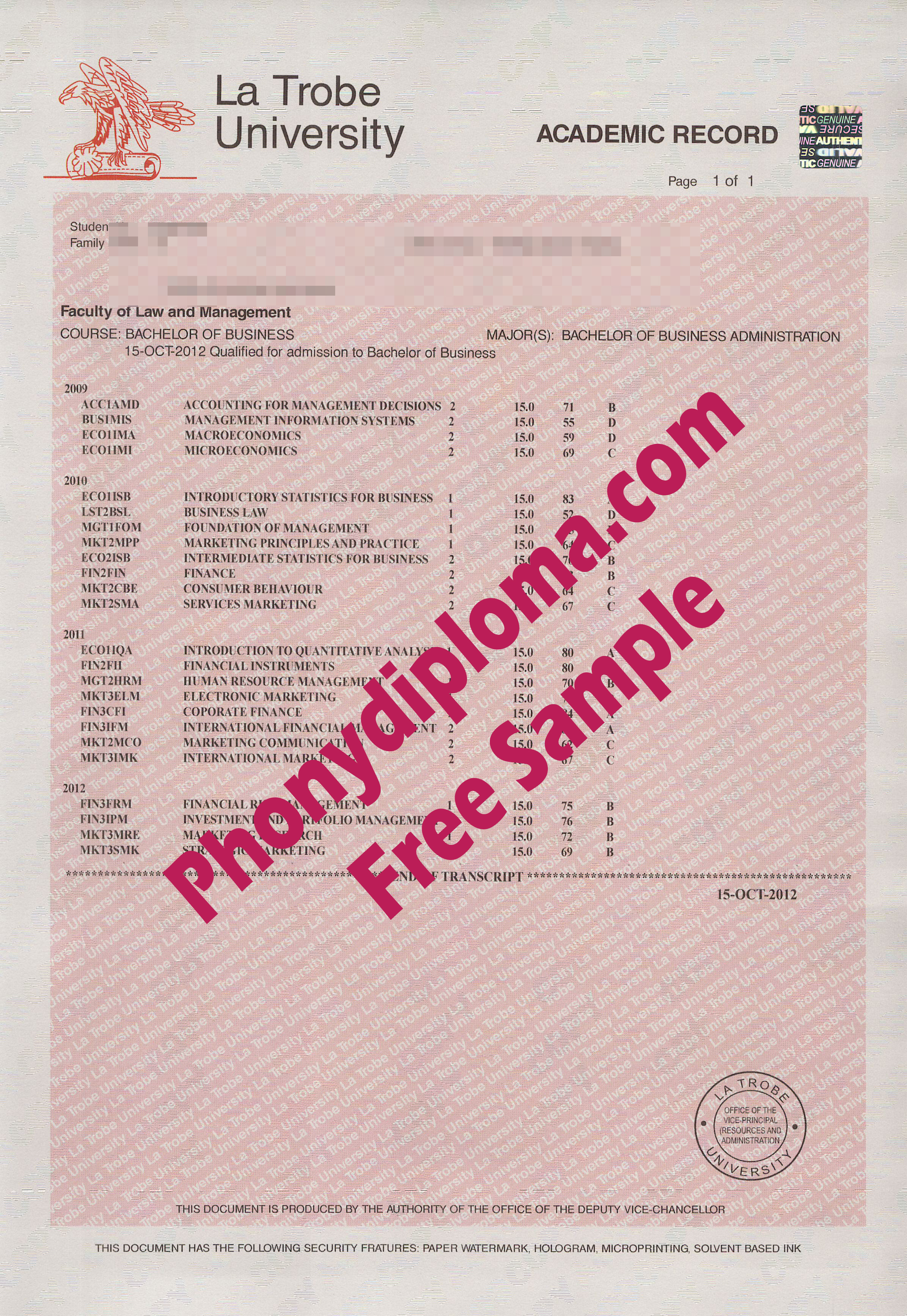 La Trobe University Actual Match Transcript Free Sample From Phonydiploma