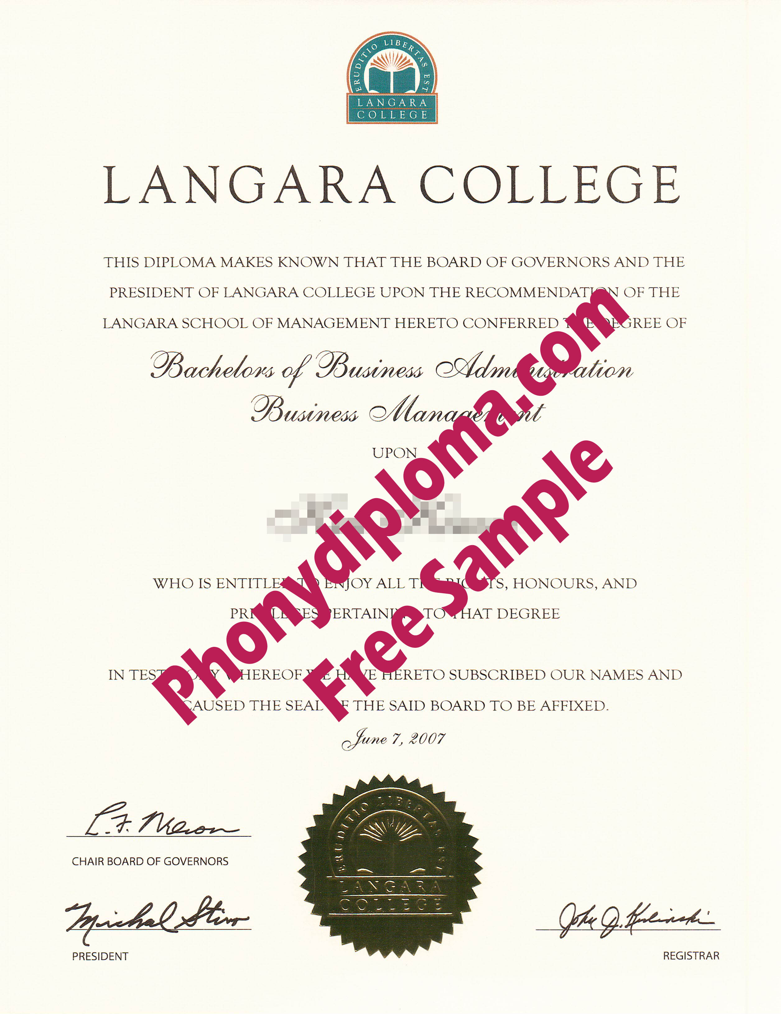 Langara College Scan Free Sample From Phonydiploma