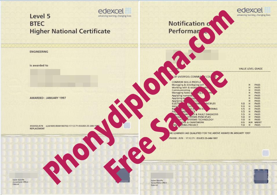 Level 5 Btec Diploma And Actual Match Transcripts Free Sample From Phonydiploma