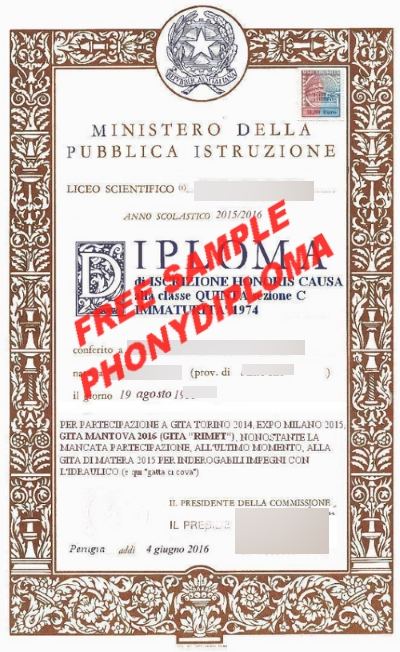 Liceo Scientifico Italy Free Sample From Phonydiploma
