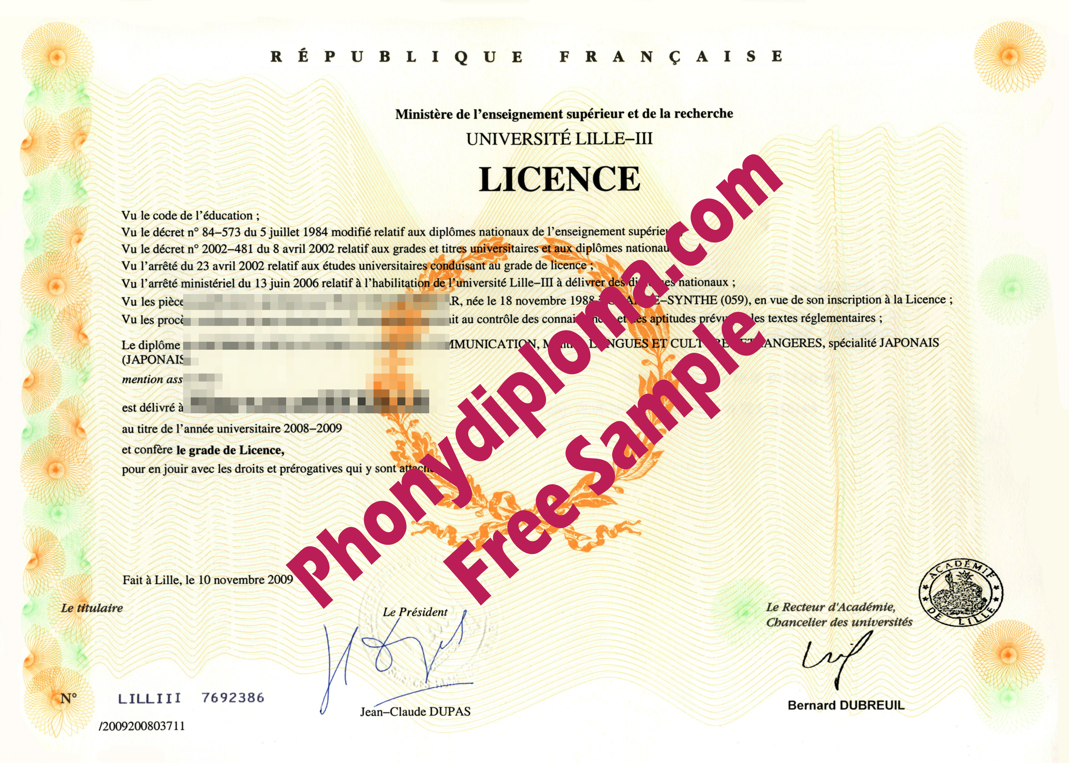 Lille Iii France Licence Free Sample From Phonydiploma