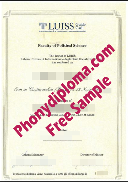 Luiss Guido Carli Italy Diploma Free Sample From Phonydiploma